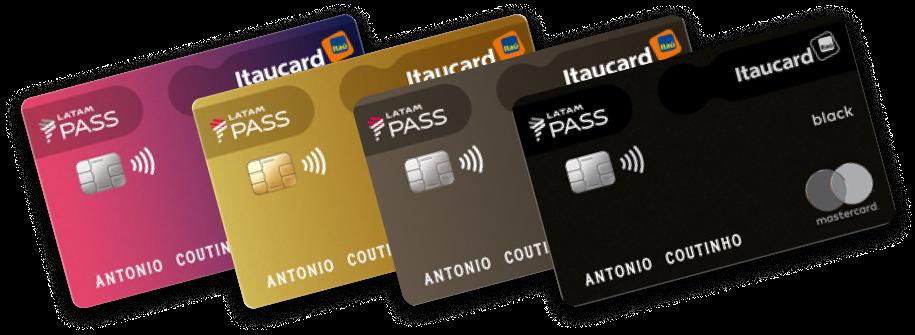 Nesta imagem são mostrados 4 cartões LATAM Pass Itaucard.